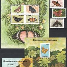 TANZANIA 2009 - FLUTURI - SERIE DE 4 TIMBRE+KLB+2 BLOCURI NESTAMPILATE - MNH / fluturi133