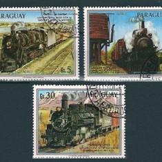 PARAGUAY 1986 - LOCOMOTIVE, TRENURI - SERIE DE 3 TIMBRE - STAMPILATA / trenuri42