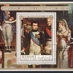 MANAMA 1972 - PICTURA, NAPOLEON - BLOC STAMPILAT / pictura132