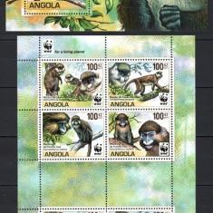 ANGOLA 2011 - FAUNA PROTEJATA WWF - SERIE IN BLOC DE 8 TIMBRE+BLOC NESTAMPILAT - MNH / fauna248