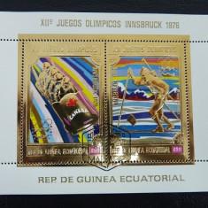 GUINEA ECUATORIALA 1975 - JOCURI OLIMPICE, INNSBRUCK 76 - BLOC STAMPILAT - IN RELIEF CU FOLIE DE AUR / folieaur26
