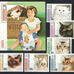 BENIN 1995 - PISICI - SERIE DE 6 TIMBRE+BLOC NESTAMPILAT - MNH / caini75