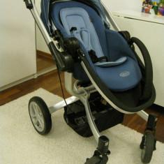 Carut Graco Symbio cu maner reversibil si scoica - Carucior copii 3 in 1 Graco, Albastru