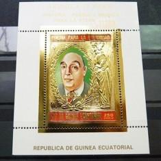 GUINEA ECUATORIALA 1975 - PERSONALITATI - BLOC NESTAMPILAT - MNH - IN RELIEF CU FOLIE DE AUR / folieaur30