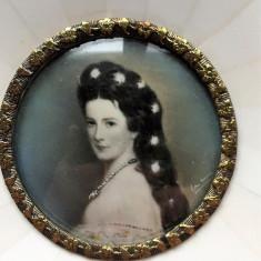 IMPARATEASA SISSI AUSTRIA - PICTURA PE FILDES - Tablou autor neidentificat, Portrete, Acuarela, Miniatura