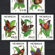 NICARAGUA 1991 - FLUTURI - SERIE DE 7 TIMBRE - NESTAMPILATA - MNH / fluturi82