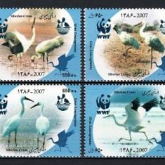 IRAN 2007 - FAUNA PROTEJATA WWF - SERIE DE 4 TIMBRE - NESTAMPILATA - MNH / pasari53
