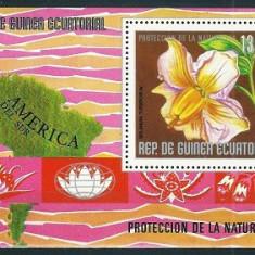 GUINEA ECUATORIALA 1976 - FLORI DIN AMERICA DE SUD - BLOC NESTAMPILAT - MNH