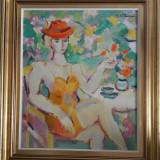 TABLOU,AG.COSTINESCU-Femeie in gradina,ulei/p/c,60x70 cm