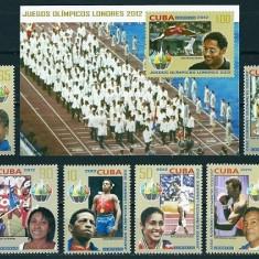 CUBA 2012 - JOCURI OLIMPICE, LONDRA 2012 - SERIE+COLITA NESTAMPILATA - MNH