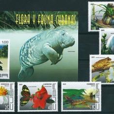 CUBA 2011 - FAUNA, FLORA - SERIE DE 6 TIMBRE+BLOC NESTAMPILAT - MNH / fauna182