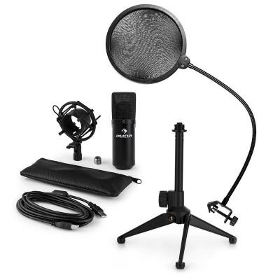 AUNA MIC-900B V2, set de microfon usb, microfon condensator negru + filtru pop + suport de masă foto