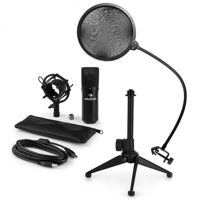 AUNA MIC-900B V2, set de microfon usb, microfon condensator negru + filtru pop + suport de masă foto mare