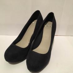 Pantofi toc Pull and Bear - Pantof dama, Culoare: Bleumarin, Marime: 37, Cu toc