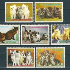 GUINEA ECUATORIALA 1976 - PISICI - SERIE DE 7 TIMBRE - NESTAMPILATA - MNH / caini58
