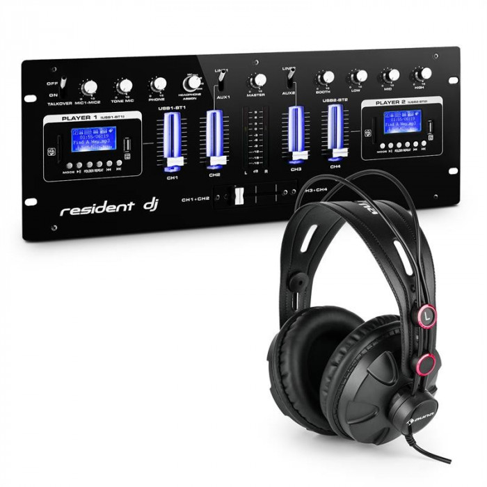 resident dj DJ405USB-BK 4-Kanal-DJ-mixer-inclusiv casti de studio foto mare