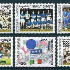 CAMBOGIA 2001 - FOTBAL, CUPE MONDIALE - SERIE DE 6 TIMBRE - NESTAMPILATA - MNH / sport83
