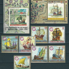 GUINEA ECUATORIALA 1975 - CORABII CU PANZE - SERIE DE 7 TIMBRE+2 BLOCURI NESTAMPILATE - MNH - COTA MICHEL : 30.5 E / navigatie91