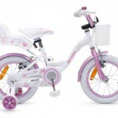Bicicleta 14Inch Copii 4-7 Ani Moni Byox FLOWER Roz - Bicicleta copii