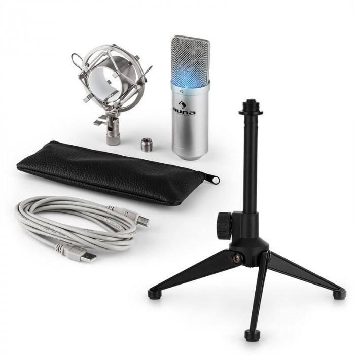 AUNA MIC-900S-LED V1, set de microfon usb, microfon condensator argintiu + suport de masă foto mare