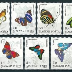UNGARIA 1984 - FLUTURI - SERIE DE 7 TIMBRE - NESTAMPILATA - MNH / fluturi59 - Cambie si Cec