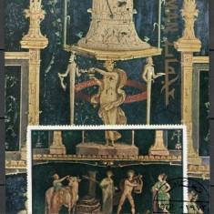 AJMAN 1972 - ARTA, POMPEI - BLOC STAMPILAT - NEDANTELAT / pictura80
