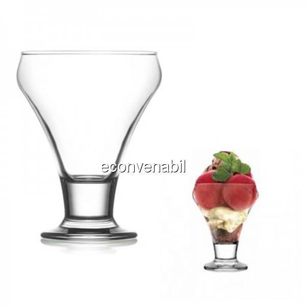 Set 24 cupe sticla cu picior pentru inghetata 305ml Frosty 378 foto mare