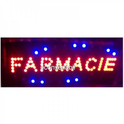 Reclama Luminoasa cu LEDuri Rosii 50x25cm Farmacie foto