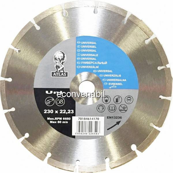 Disc debitat materiale constructie diamantat Atlas Universal 230x22.23mm foto mare