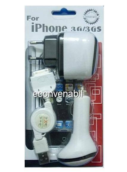Incarcator pentru iphone priza, auto, usb foto mare
