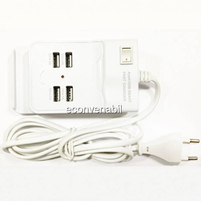 Incarcator USB Hub 4 Porturi USB 2.0 cu Buton ON/OFF 220V foto