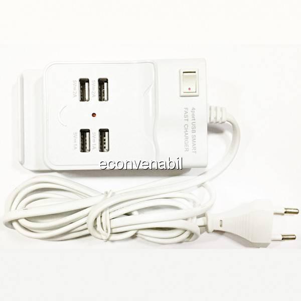 Incarcator USB Hub 4 Porturi USB 2.0 cu Buton ON/OFF 220V foto mare