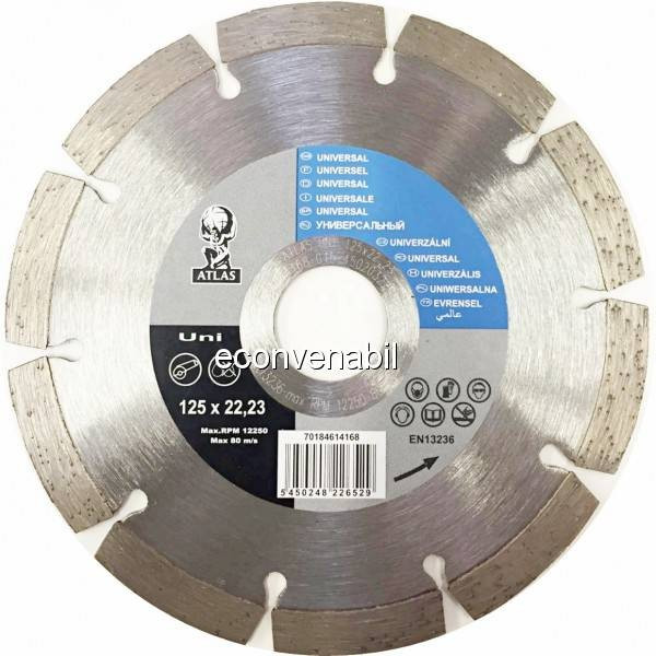 Disc debitat materiale constructie diamantat Atlas Universal 125x22.23mm foto mare