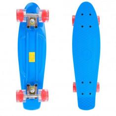 Penny Board, 56 cm, roti silicon cu lumini, albastru - Skateboard
