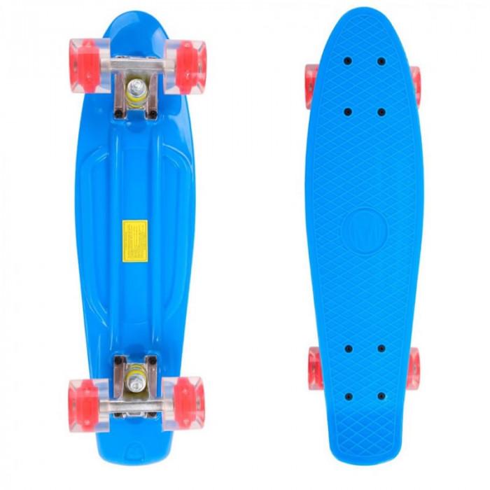 Penny Board, 56 cm, roti silicon cu lumini, albastru foto mare
