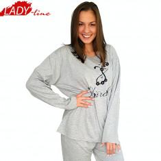 Pijam Dama Marimi Mari, Bumbac 100%, Model March Spring, Brand Dehai-T, Cod 990 - Pijamale dama, Marime: XXXL, Culoare: Gri