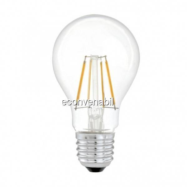 Bec LED Filament 6W Alb Rece E27 TKO foto mare