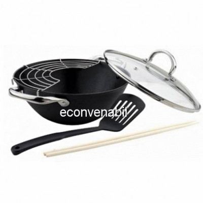 Tigaie wok fonta suport bete capac Bohmann BH60232 32cm 5.6L foto