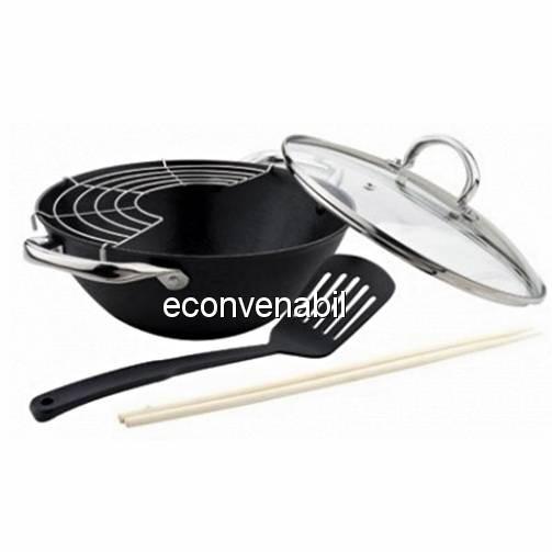 Tigaie wok fonta suport bete capac Bohmann BH60232 32cm 5.6L foto mare