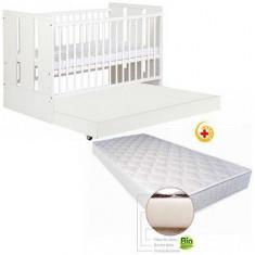 Patut alb cu sertar - Patut lemn pentru bebelusi Baby Design, 190X100cm