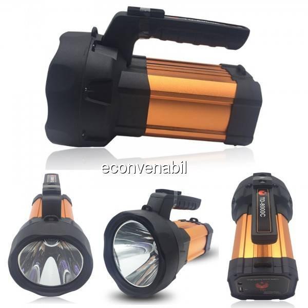 Lanterna LED Profesionala 10W 220V cu Acumulator si slot USB TD8000C foto mare