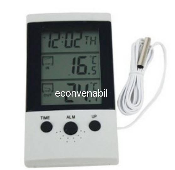 Termometru Digital cu Ceas si Alarma WSD2B foto mare