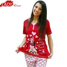 Pijama dama Maneca Scurta/Pantalon 3/4, Model Love You, Bumbac 100%, Cod 358