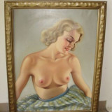 Tablou Nud Scoala Maghiara Originala - Pictor strain, Ulei, Art Deco