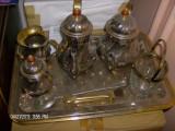 Set Ceai Cafea Argintat Cu Aur 24k