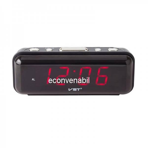 Ceas Digital Display LCD Rosu, Alarma si Functie Memorare Ora VST738 foto mare