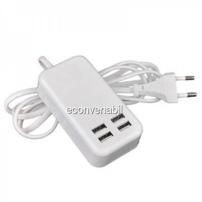 Incarcator USB Hub 4 Porturi USB 2.0 la priza 220V foto