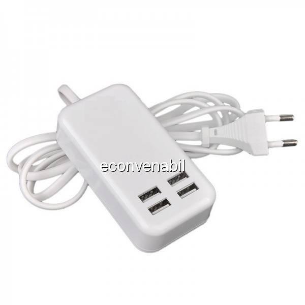 Incarcator USB Hub 4 Porturi USB 2.0 la priza 220V foto mare