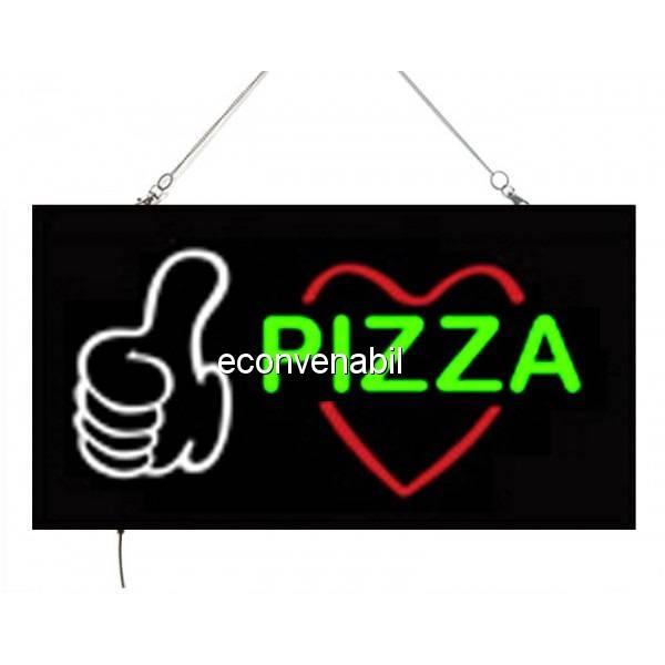 Reclama Luminoasa cu LEDuri tip Caseta Neon Pizza 24x44cm foto mare