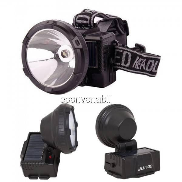 Lanterna Frontala LED 1W Incarcare Solara si 220V GDLite GD215S foto mare